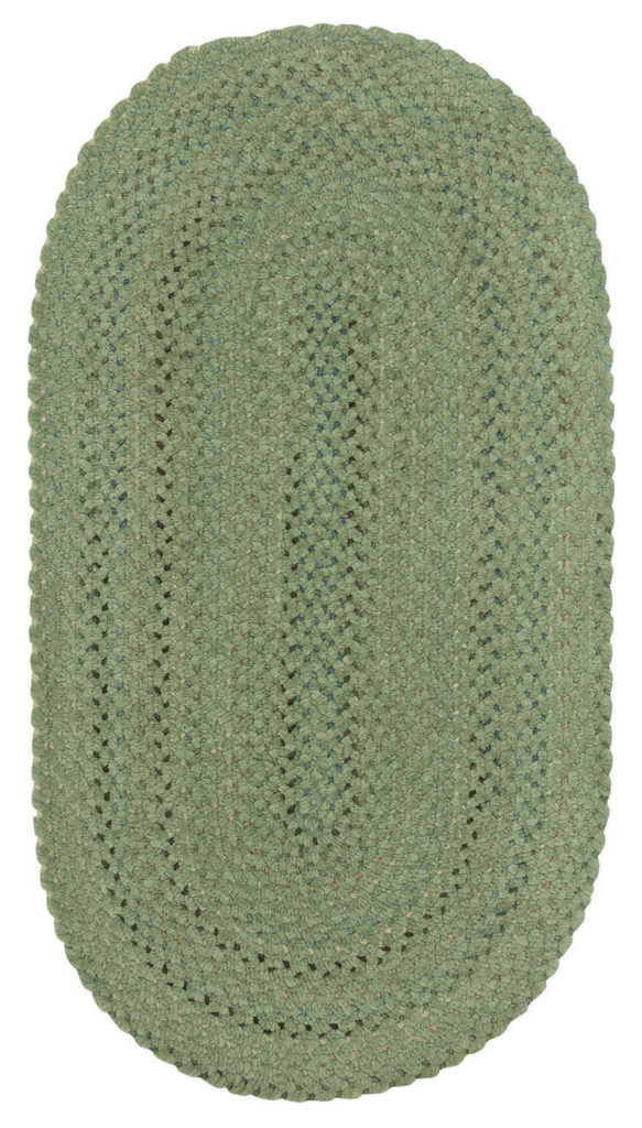 Capel Dramatic Static 225 Cameo Green Braided Rug