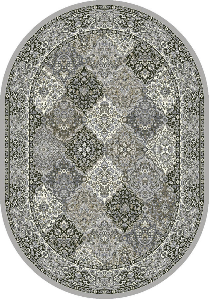 "Dynamic Ancient Garden 6'-7"" x 9'-6"" Oval 57008-9696 Cream / Grey Rug"