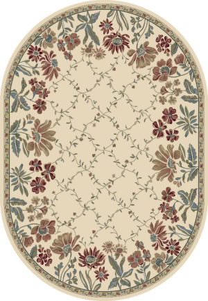 """Dynamic Ancient Garden 6'-7"""" x 9'-6"""" Oval 57084-6464 Ivory Rug"""