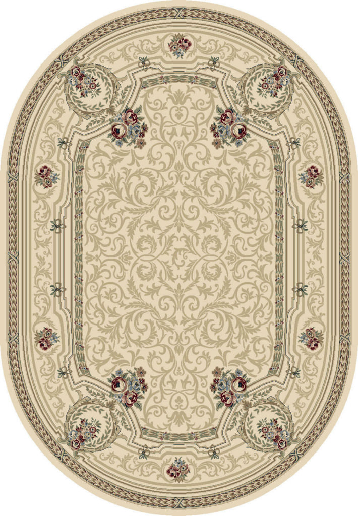 "Dynamic Ancient Garden 6'-7"" x 9'-6"" Oval 57091-6464 Ivory Rug"
