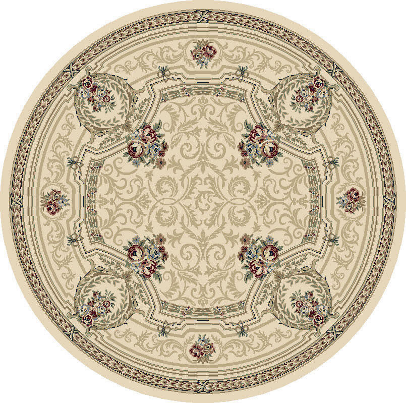 """Dynamic Ancient Garden 7'-10"""" x 7'-10"""" Round 57091-6464 Ivory Rug"""