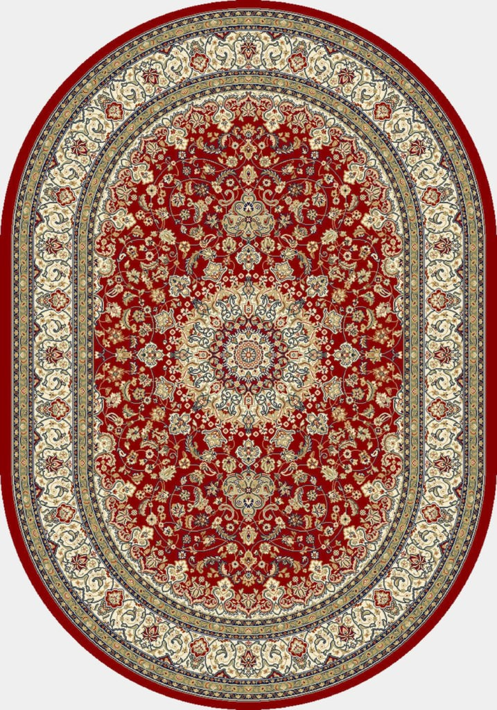 "Dynamic Ancient Garden 6'-7"" x 9'-6"" Oval 57119-1414 Red / Ivory Rug"