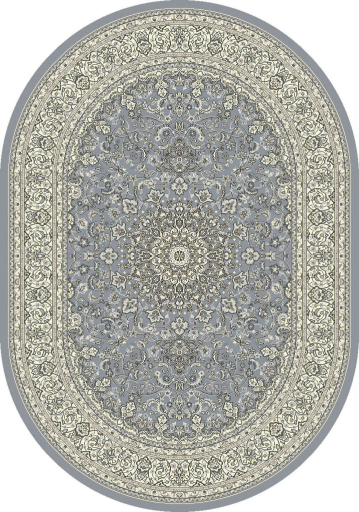 "Dynamic Ancient Garden 6'-7"" x 9'-6"" Oval 57119-4646 Steel Blue / Cream Rug"