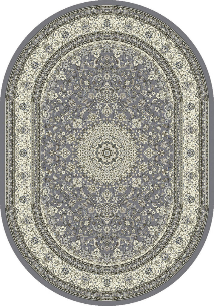 "Dynamic Ancient Garden 6'-7"" x 9'-6"" Oval 57119-5666 Grey / Cream Rug"