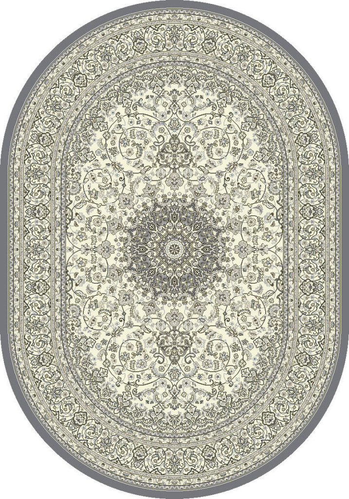 "Dynamic Ancient Garden 6'-7"" x 9'-6"" Oval 57119-6656 Cream / Grey Rug"