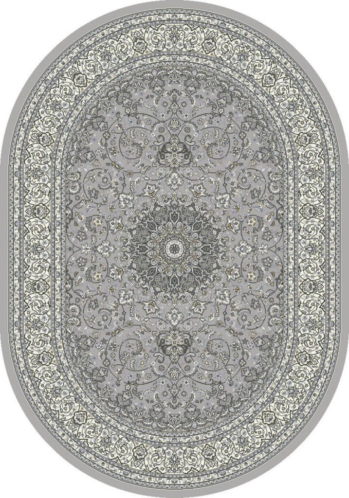 "Dynamic Ancient Garden 6'-7"" x 9'-6"" Oval 57119-9666 Soft Grey / Cream Rug"