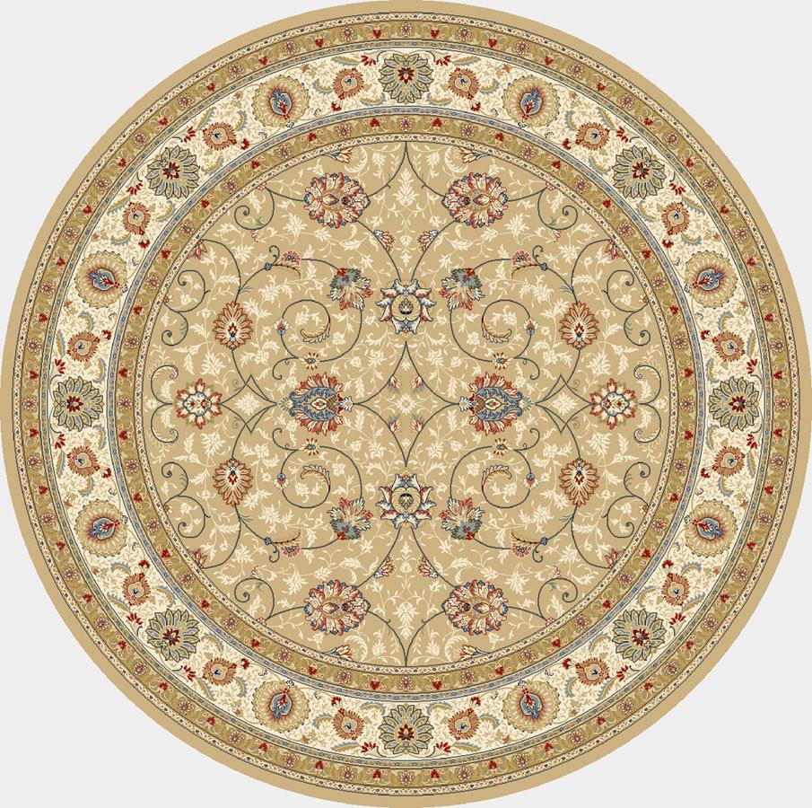 """Dynamic Ancient Garden 7'-10"""" x 7'-10"""" Round 57120-2464 Lt. Gold / Ivory Rug"""