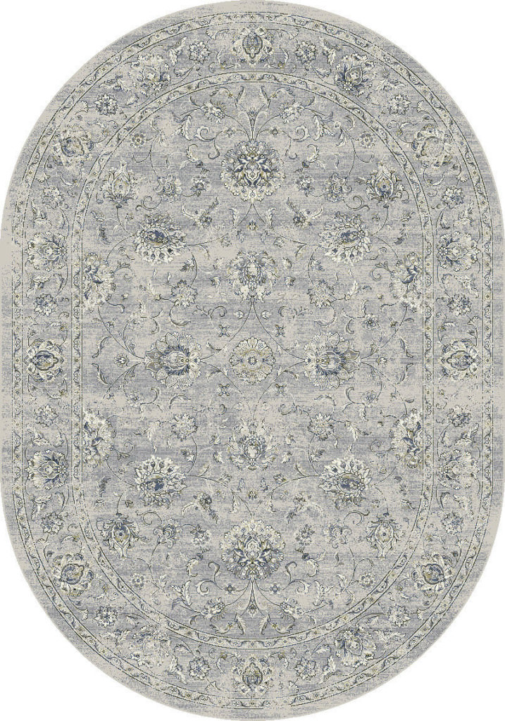 "Dynamic Ancient Garden 6'-7"" x 9'-6"" Oval 57126-9696 Silver / Grey Rug"