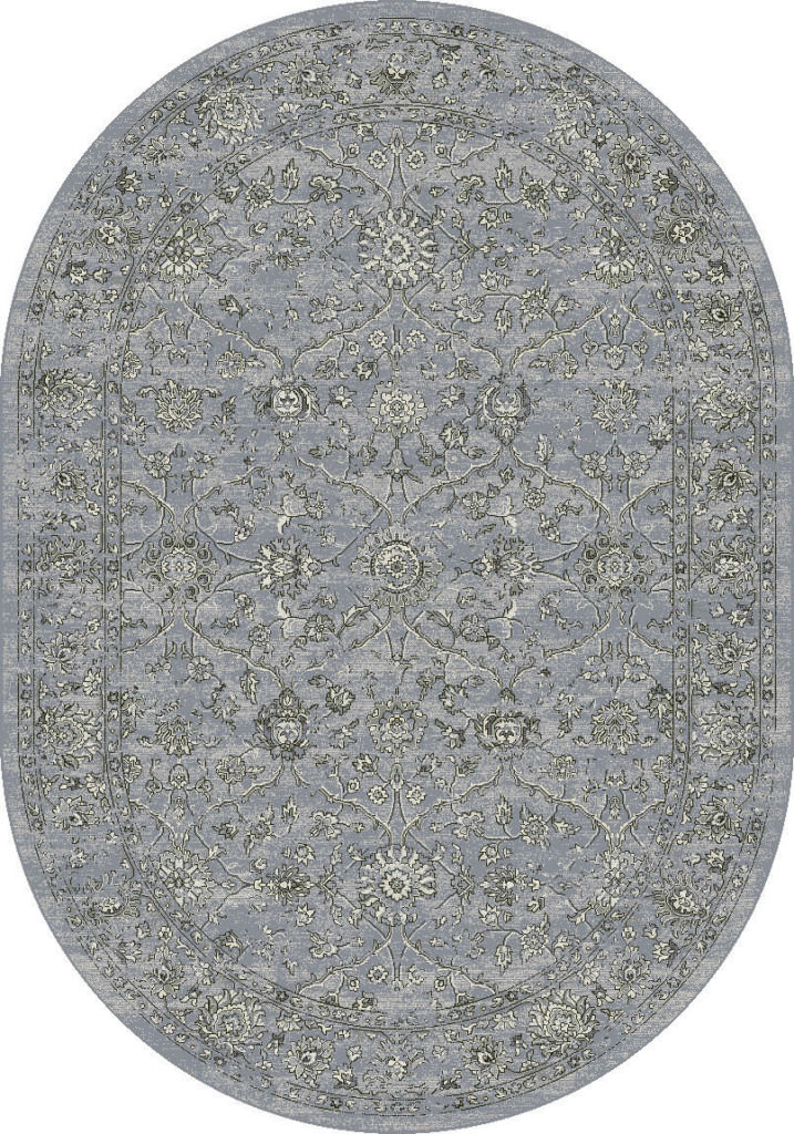"Dynamic Ancient Garden 6'-7"" x 9'-6"" Oval 57136-4646 Steel Blue / Cream Rug"