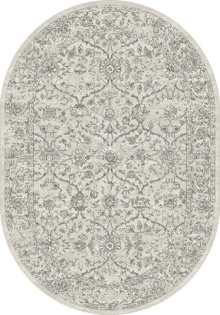 "Dynamic Ancient Garden 6'-7"" x 9'-6"" Oval 57136-9696 Silver / Grey Rug"
