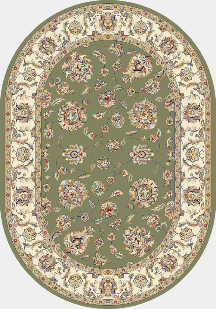"Dynamic Ancient Garden 6'-7"" x 9'-6"" Oval 57365-4464 Green / Ivory Rug"