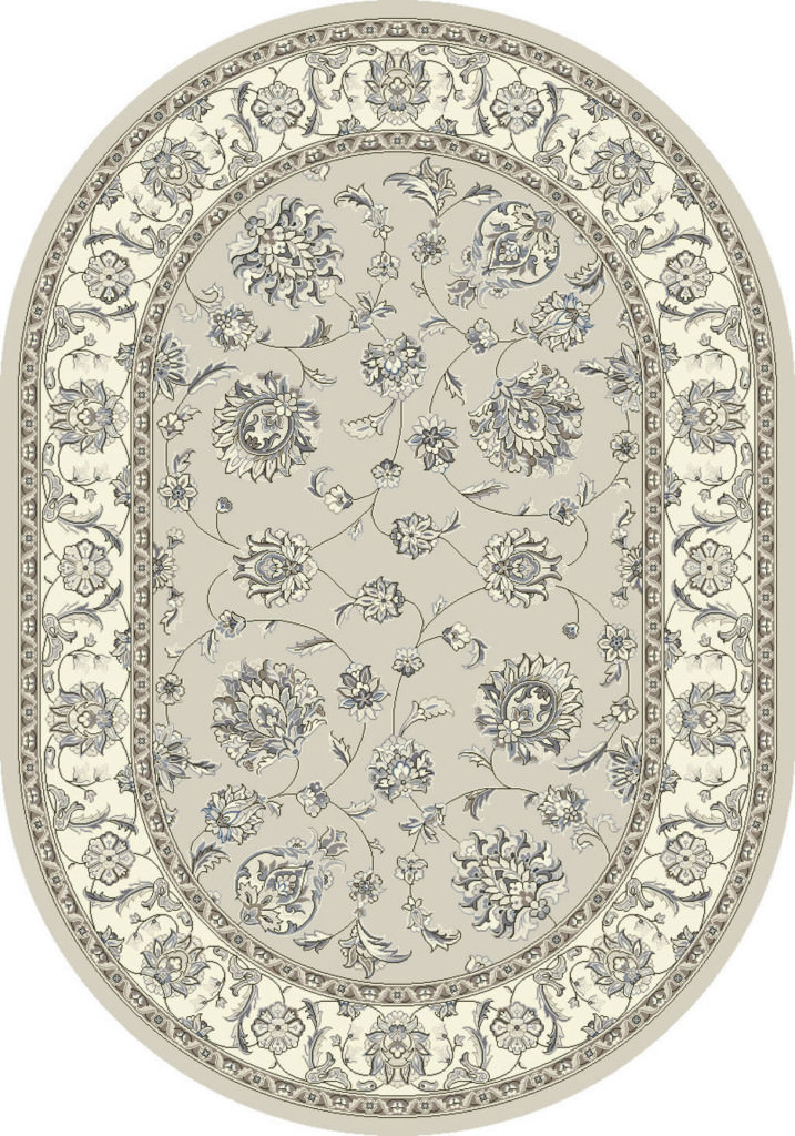 "Dynamic Ancient Garden 6'-7"" x 9'-6"" Oval 57365-9666 Soft Grey / Cream Rug"