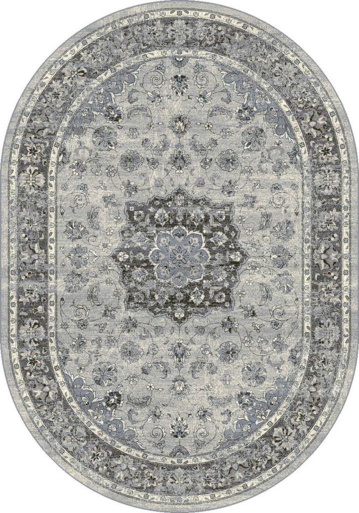 "Dynamic Ancient Garden 6'-7"" x 9'-6"" Oval 57559-9656 Silver / Grey Rug"