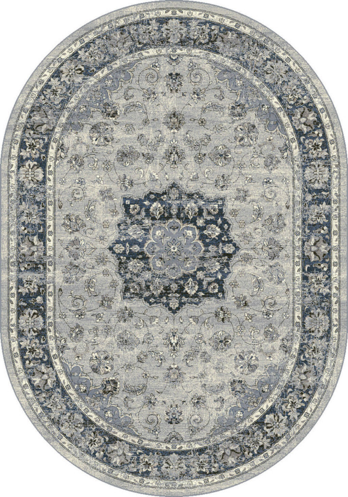 "Dynamic Ancient Garden 6'-7"" x 9'-6"" Oval 57559-9686 Silver / Blue Rug"