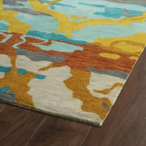 Kaleen Brushstrokes BRS02-91 Teal Rug Close-Up