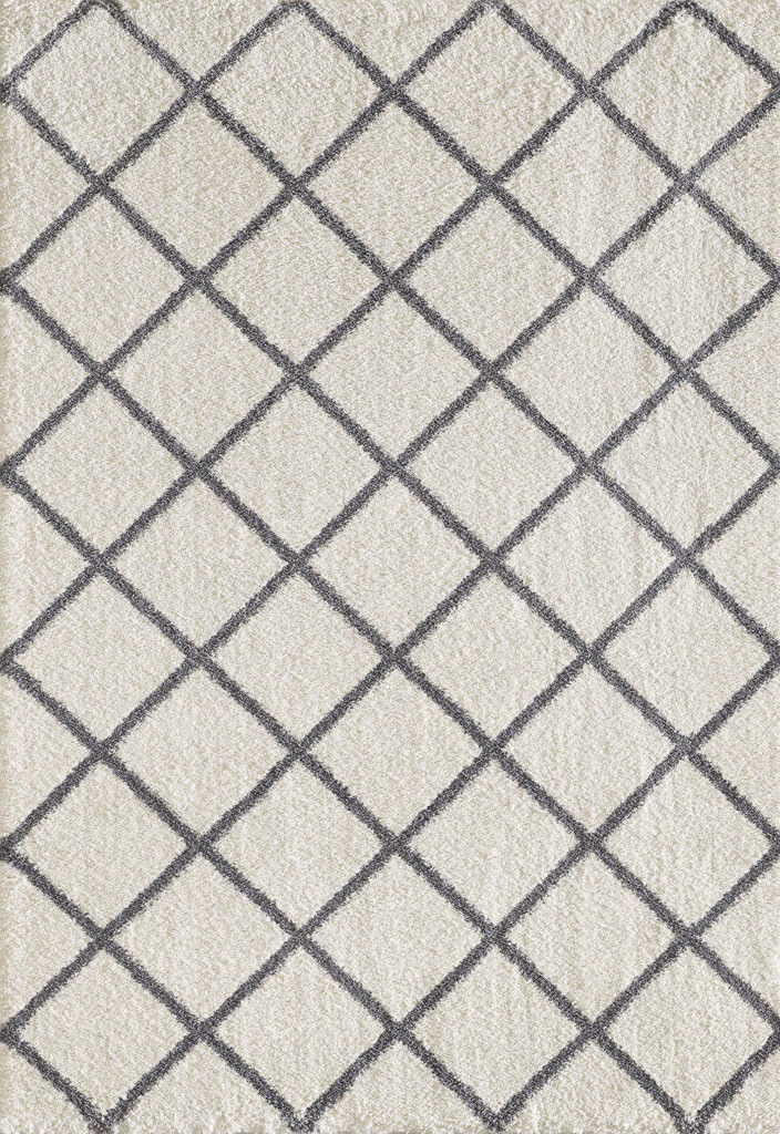 """Dynamic Silky Shag 9'-2"""" x 12'-10"""" 5920-109 Ivory / Grey Rug"""