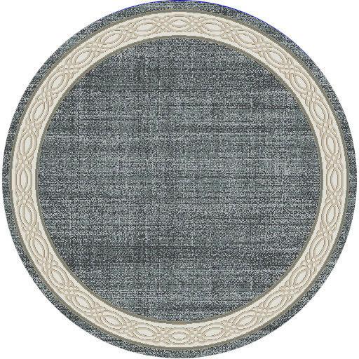 """Dynamic Yazd 5'-3"""" x 5'-3"""" Round 1770-590 Blue / Grey Rug"""