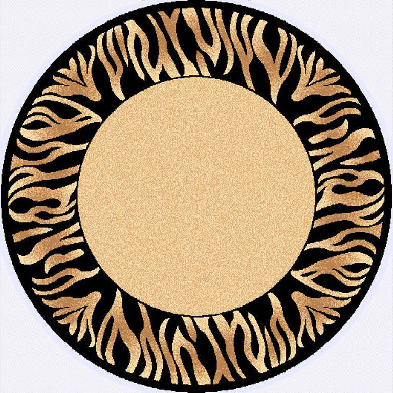"Dynamic Yazd 5'-3"" x 5'-3"" Round 2804-190 Cream-Black Rug"