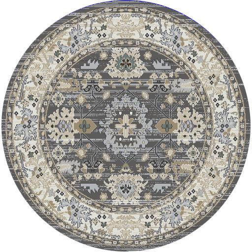 "Dynamic Yazd 5'-3"" x 5'-3"" Round 8531-910 Grey / Ivory Rug"