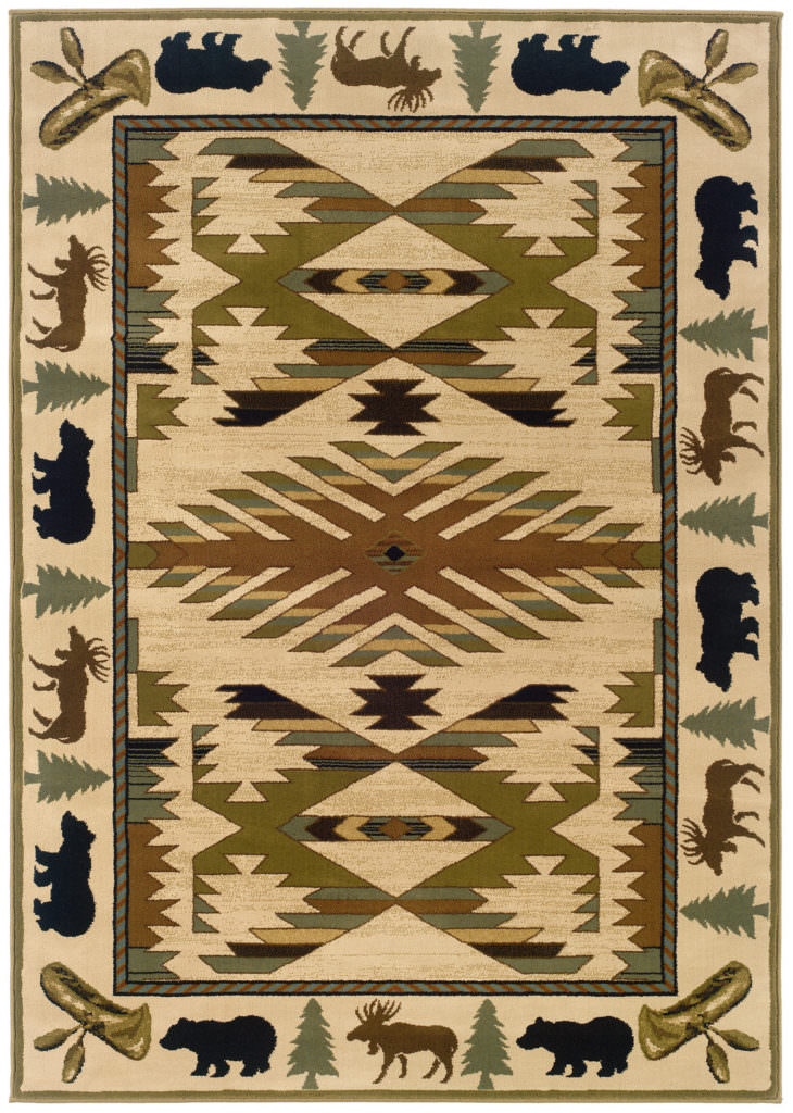 Oriental Weavers Hudson HUD 1072A Ivory / Green Rug