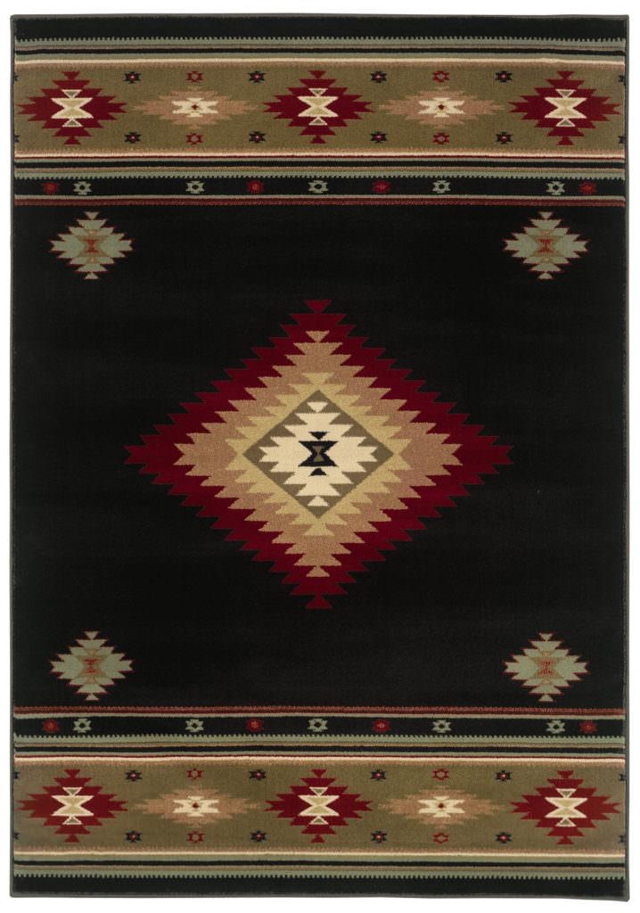 Oriental Weavers Hudson HUD 087G1 Black / Green Rug