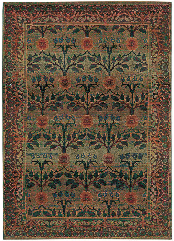 Oriental Weavers Kharma KHA 450G4 Green / Brown Rug